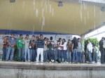 Bajo la lluvia en el Tetro del Pueblo durane acto de conurbación La Piedad--Pénjamo