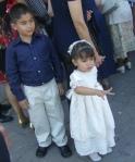 En la boda de Patricia y Jorge, 12, Emmanuel y Eva Valeria, a la salida del templo